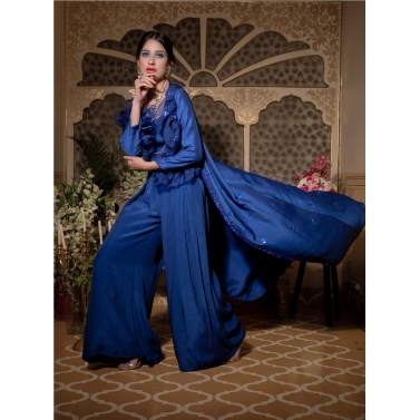 COBALT BLUE LONG JACKET 3PC SET