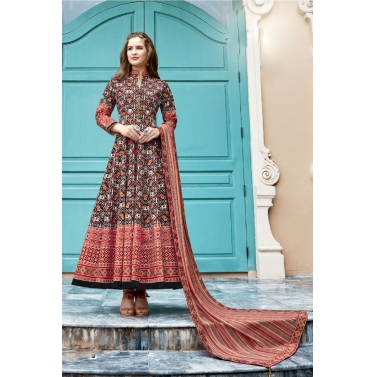 designer-womens-wear/designer-salwar-kameez/black-multi-color-patola-anarkali-suit