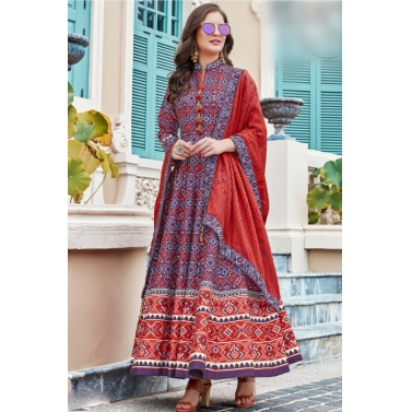 designer-womens-wear/designer-salwar-kameez/voilet-multi-color-patola-anarkali-suit
