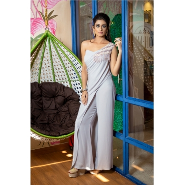 ONE SHOULDER JUMPSUIT WITH DETACHABLE DRAPE AND FRINGED EMBROIDERY
