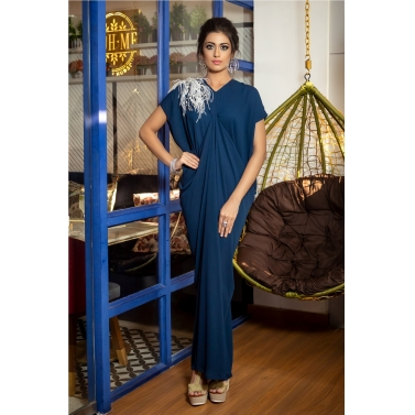 DRAPE GOWN WITH FEATHER DETAILING EMBROIDERY MOTIF