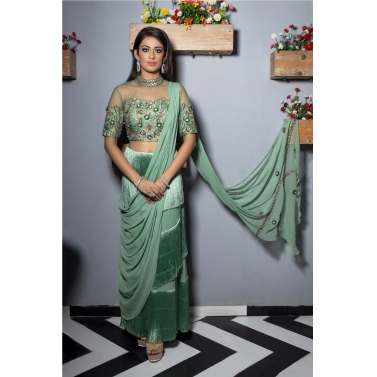 FRINGED SAREE WITH ILLUSION NECKLINE 3D EMBROIDERY BLOUSE, DETACHABLE DRAPE.CONVERTIBLE TO CROP TOP