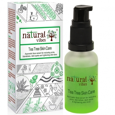 Natural Vibes ~ Ayurvedic Tea Tree Skin Repair Serum 30 ml ~ Reduces acne, blemishes, dark spots and