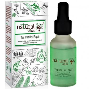 Natural Vibes ~ Ayurvedic Tea Tree Hair Repair Serum 30 ml ~ For treating dandruff, hairfall and dam