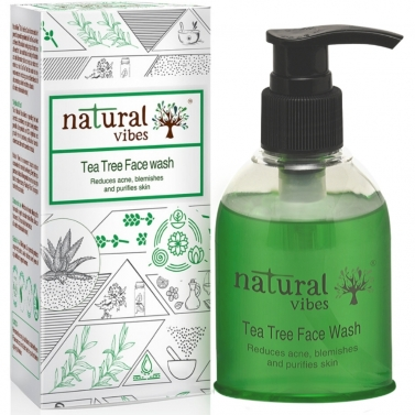 Natural Vibes ~ Ayurvedic Tea Tree Face Wash 150 ml ~ Reduces acne, blemishes and purifies skin