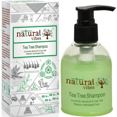 Natural Vibes ~ Ayurvedic Tea Tree Shampoo 150 ml  ~ Controls dandruff and hairfall, repairs damaged