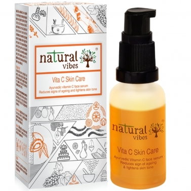 Natural Vibes ~ Ayurvedic Vitamin C Skin Care Serum 30 ml ~ Reduces signs of ageing and lightens ski