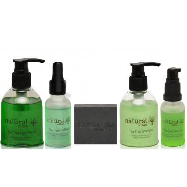 Natural Vibes ~ Ayurvedic Tea Tree and Activated Charcoal~Anti acne, Anti dandruff and hair fall tre