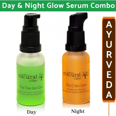 Natural Vibes ~ Ayurvedic Skin Repair and Glow Combo Day and Night ~ with Tea Tree Serum 30 ml and V