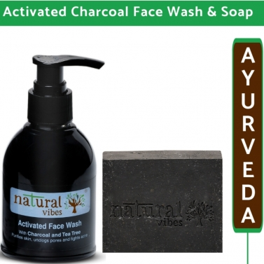 Natural Vibes Ayurvedic Activated Charcoal Face Wash and Soap combo - 150 ml + 150g