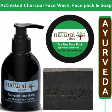 Natural Vibes  Ayurvedic Activated Charcoal Skin Care Regime - with face wash 150 ml, soap 150 g and