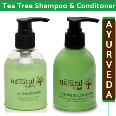 Natural Vibes  Ayurvedic Tea Tree Shampoo and Conditioner Combo - 150 ml + 150 ml