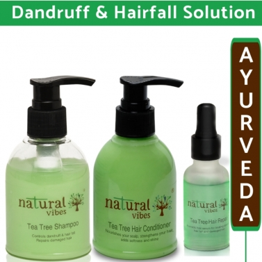 Natural Vibes  Ayurvedic Tea Tree Hair Care Regime with Hair serum 30 ml, Shampoo 150 ml & Condition