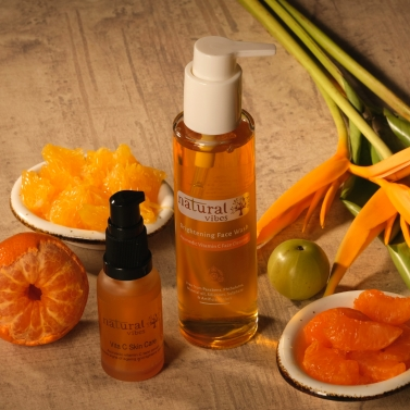 Natural Vibes ~ Ayurvedic Vitamin C Brightening Skin Care Regime with 1 Vitamin C Face Wash 120 ml a