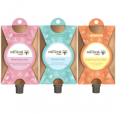Natural Vibes ~ Bath Essentials Travel Kit  ~ with Face Wash, Shower Gel, and Moisturising Lotion (