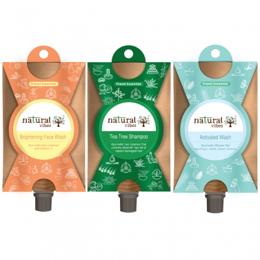 Natural Vibes ~ Bath and Body Travel Kit  ~ with Face Wash, Shower Gel and Shampoo ( 30 ml each, tot