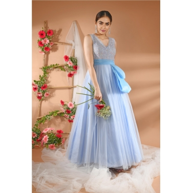 Powder Blue Gown with Exaggerate Bow