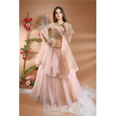 Layered Powder Peach Skirt with Dupatta