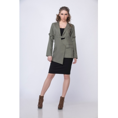Asymmetric Blazer in Olive