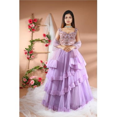 Layered Lilac Skirt with Corset Top & Dupatta