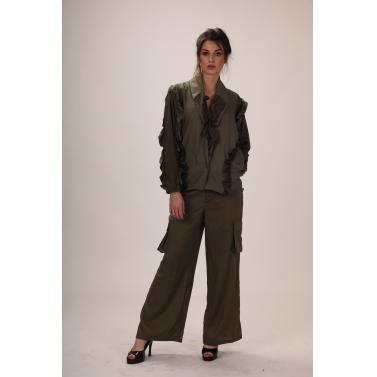 green ruffle blazer