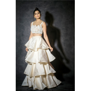 Ivory taffeta layered skirt with short top