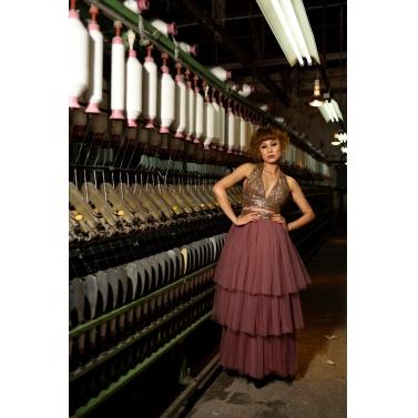 Pink 3tiered skirt with golden halter top