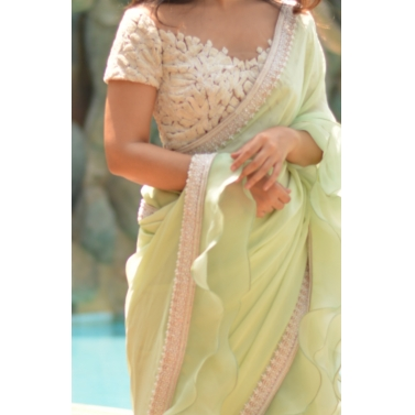Mint green Saree  with ivory  sheer blouse