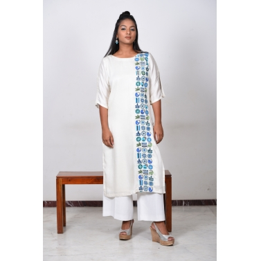 Off White-Bird Motif Kurta