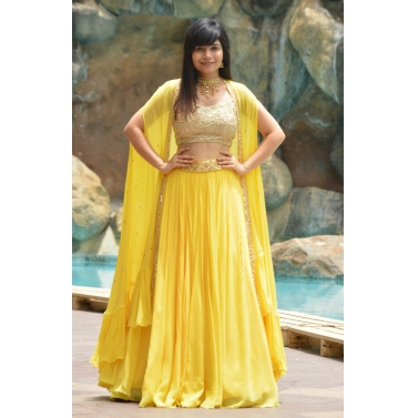 yellow lehenga with cape