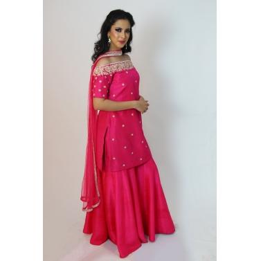 pink off shoulder  kurti with sharara