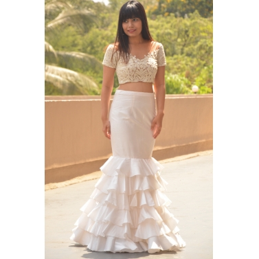 Ivory bodycone skirt with pearl  work blouse