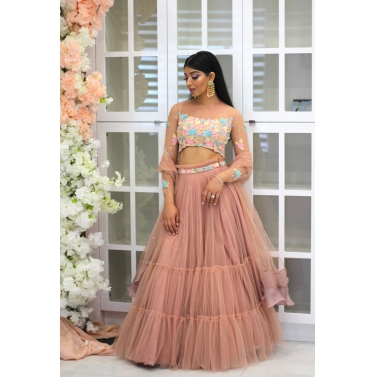 Blush pink lehenga with  long sleeves