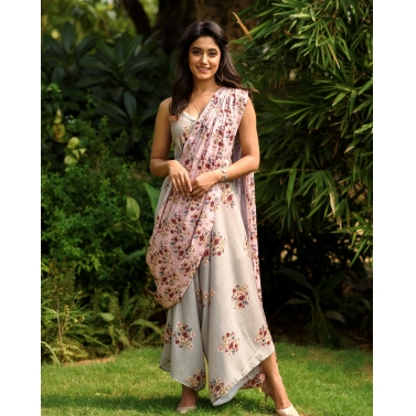 LAUREL GREEN PALAZZO JUMPSUIT WITH A DETACHABLE CARNATION PINK PALLU