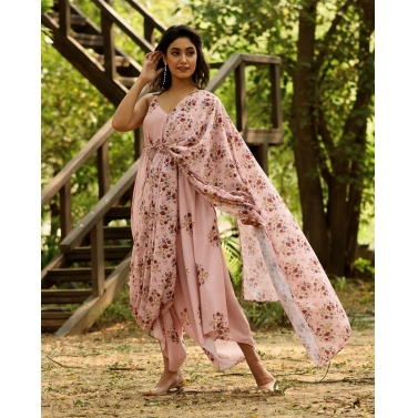 CARNATION PINK PALAZZO JUMPSUIT WITH A DETACHABLE CARNATION PINK PALLU