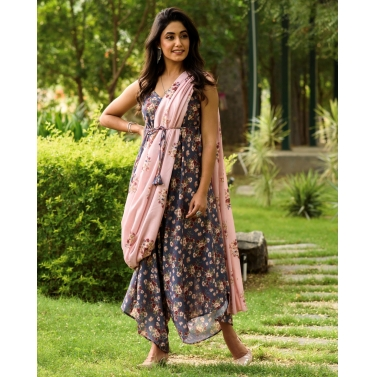PERSIAN BLUE PALAZZO JUMPSUIT WITH A DETACHABLE CARNATION PINK PALLU