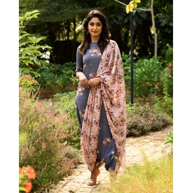 PERSIAN BLUE DHOTI JUMPSUIT WITH A DETACHABLE CARNATION PINK PALLU