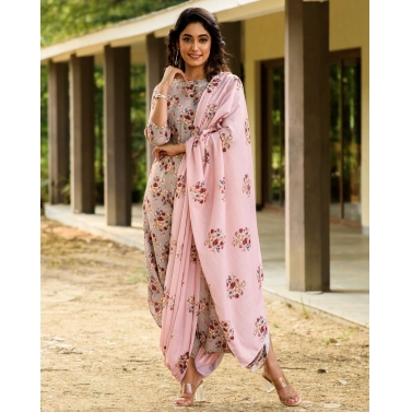 LAUREL. GREEN DHOTI JUMPSUIT WITH A DETACHABLE CARNATION PINK PALLU