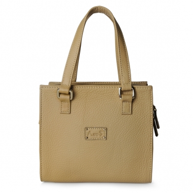 Square Leather Handbag with Sling Hazelnut