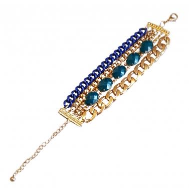 Blue Meets Gold Stone & Link Bracelet