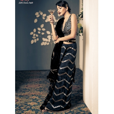 Black velvet embroidered drrape with silk embroidered  pleates and brocade blouse.