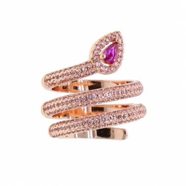 18K Gold Plated Pink Python Ring