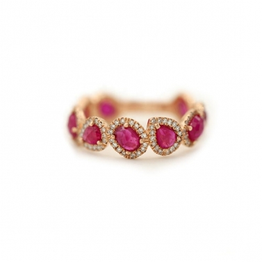 18K Gold Plated Rani Pink Eternity Band