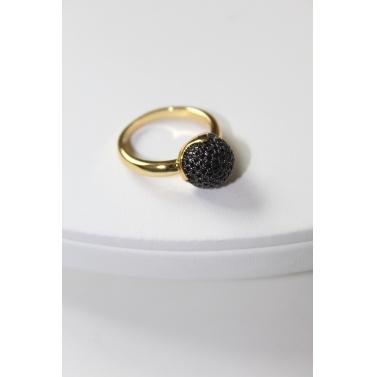 18K Gold Plated Black Circular Ring