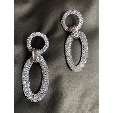 Silver Shimmer Rings Drop Earrings