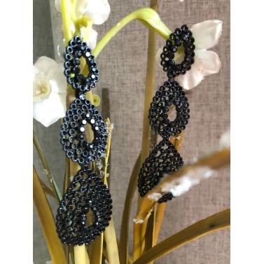 Cascading Drops Of Black Cluster Earrings
