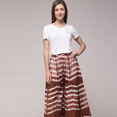 Clamp Dyed Brown Elasticated Palazzo Pant In Cotton