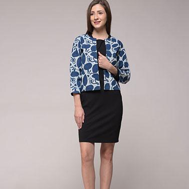 Dabu Indigo Printed Floral Jacket