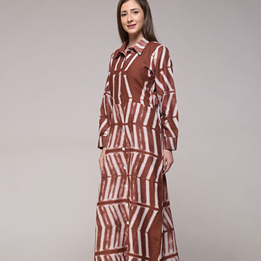 Clamp Dyed Brown Dress In Cotton