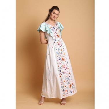 White front pannel embroidered long dress